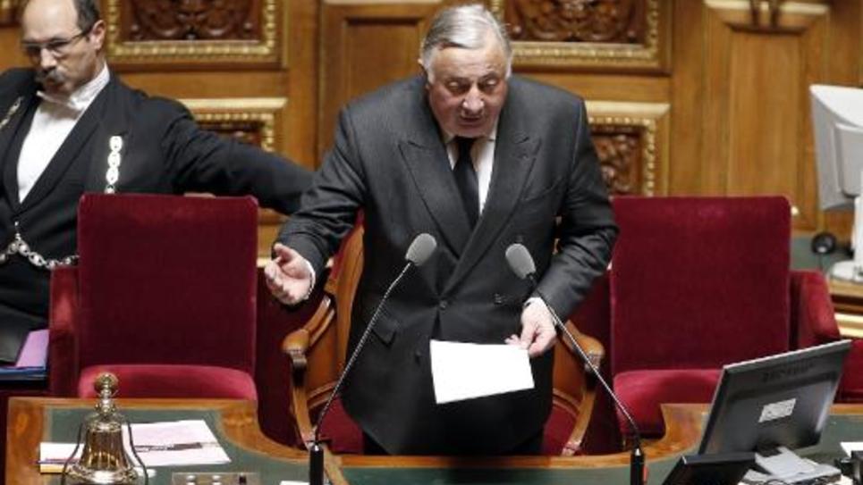 Le Président du Sénat Gérard Larcher au Sénat le 7 avril 2015