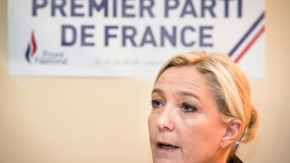 La présidente du FN Marine Le Pen lors d'une conférence de presse, le 24 octobre 2014 à Calais