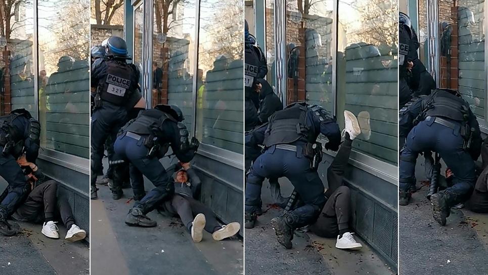 """Montage de photos créé le 19 janvier 2020 à partir d'une vidéo d'un manifestant et montrant un policier frappant un homme, en marge de la manifestation des """"gilets jaunes"""" à Paris, le 18 janvier 2020"""