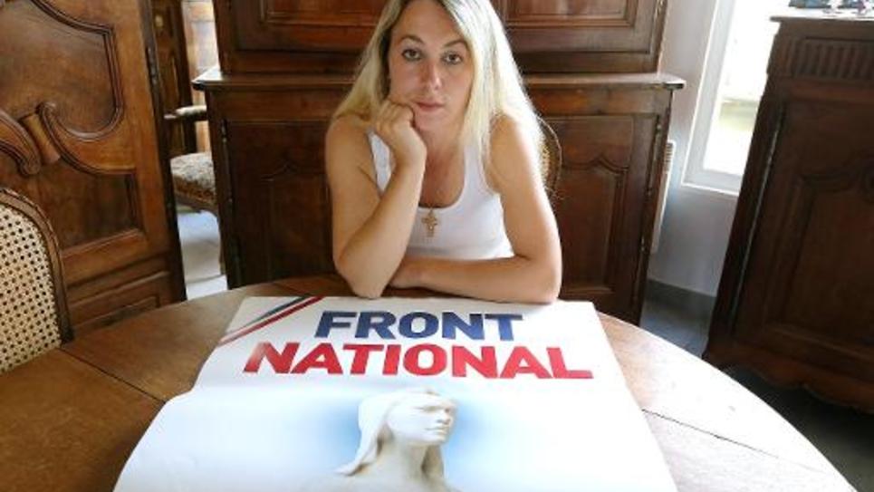 Anne-Sophie Leclère, ex-candidate FN, le 16 juillet 2014 à Rethel dans le nord de la France