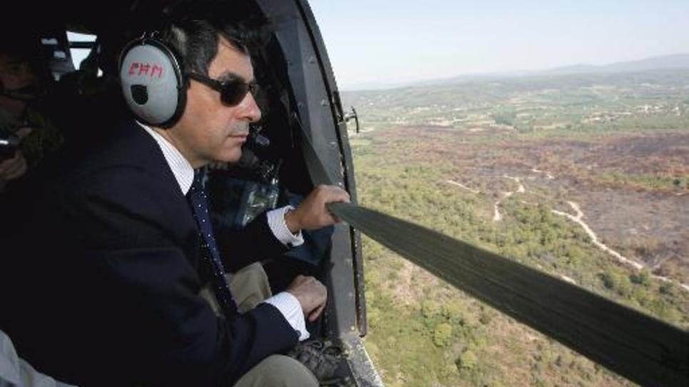 François Fillon lors d'un déplacement officiel en hélicoptère en 2007