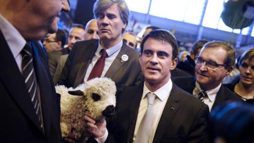 Stéphane Le Foll et Manuel Valls le 23 février 2015 au Salon de l'Agriculture à Paris