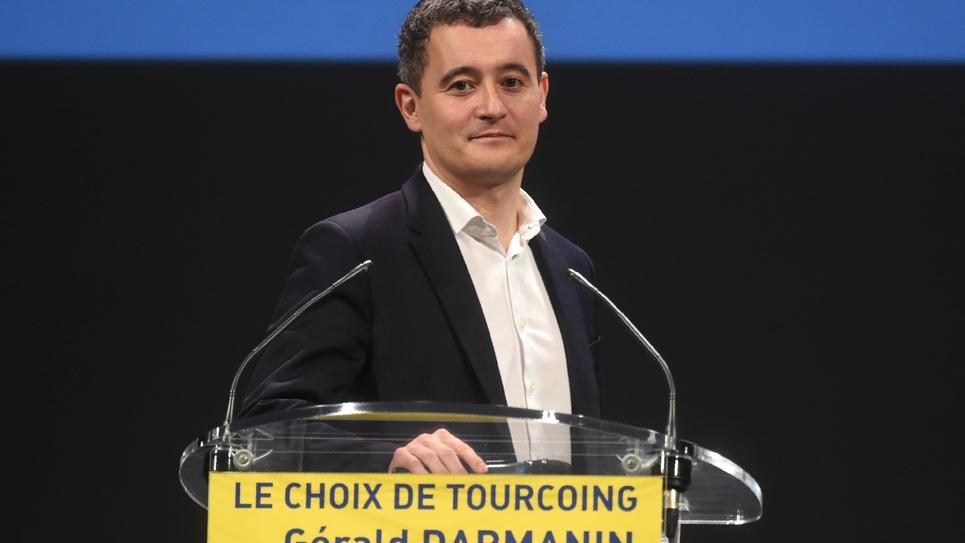 Gérald Darmanin, ministre de l'Action et des Comptes publics, et tête de liste LREM aux municipales à Tourcoing (Nord), lors d'un meeting électoral à Tourcoing, le 13 février 2020