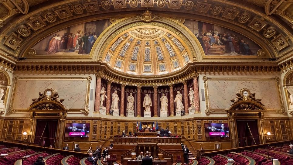 L'hémicycle du Sénat, le 17 novembre 2016 au Palais du Luxembourg, à Paris
