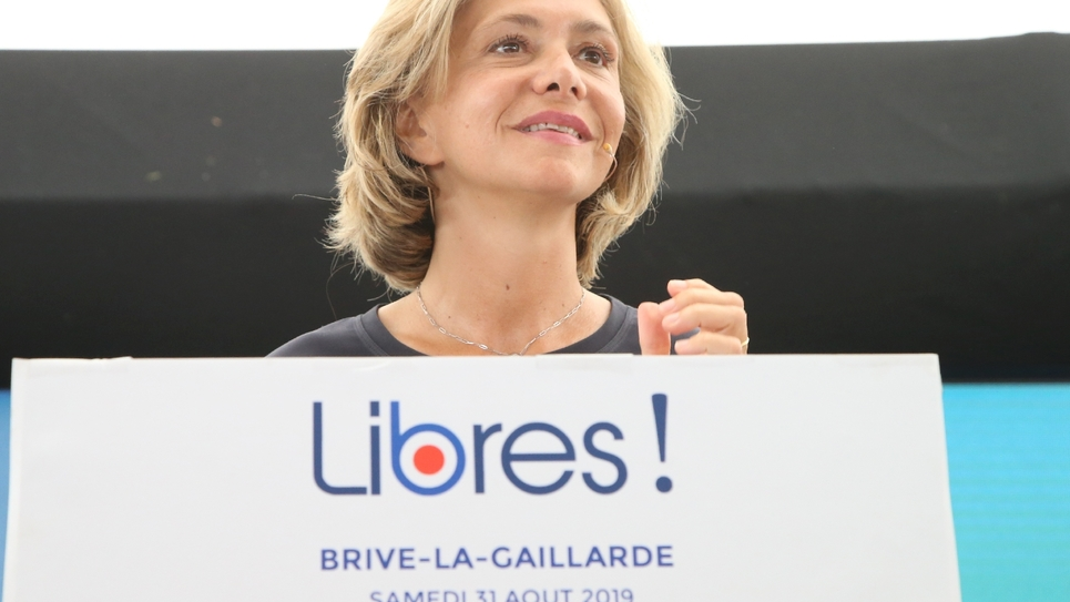 """La présidente du conseil régional d'Ile-de-France Valérie Pecresse le 31 août 2019 à Brive (Corrèze) devant les sympathisants de son mouvement """"Libres !"""""""