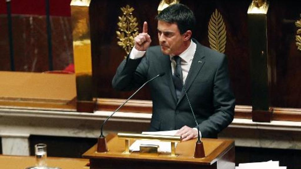Manuel Valls lors de son discours le 13 janvier 2015 à l'Assemblée nationale à Paris