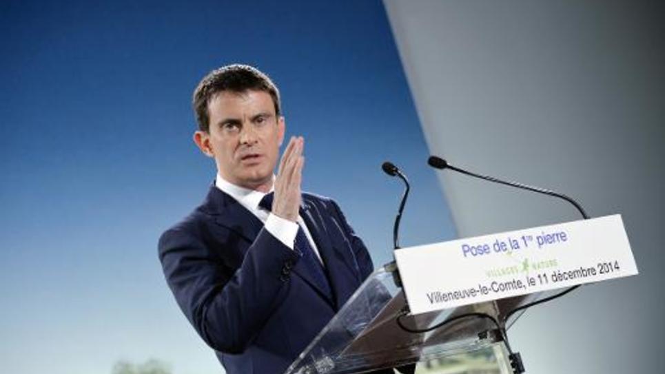 Le Premier ministre Manuel Valls s'exprime lors d'un discours, près de Paris le 11 décembre 2014