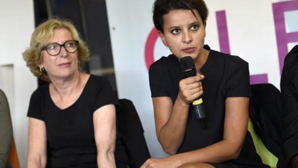 La ministre de l'Education nationale Najat Vallaud-Belkacem et la secrétaire d'Etat Geneviève Fioraso (g) à Paris, le 8 septembre 2014