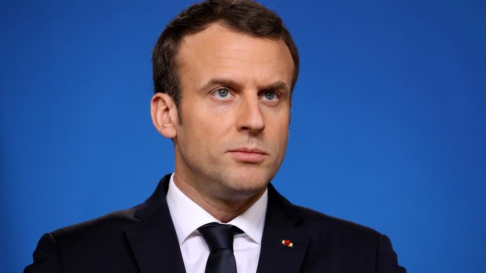 Le président Emmanuel Macron lors d'une conférence de presse à Bruxelles le 23 février 2018