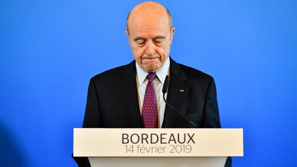Alain Juppé lors d'une conférence de presse, le 14 février 2019 à Bordeaux