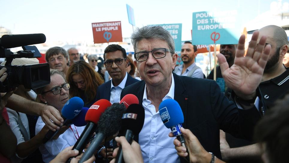 Jean-Luc Mélenchon lors d'une manifestation à Marseille le 7 septembre 2018