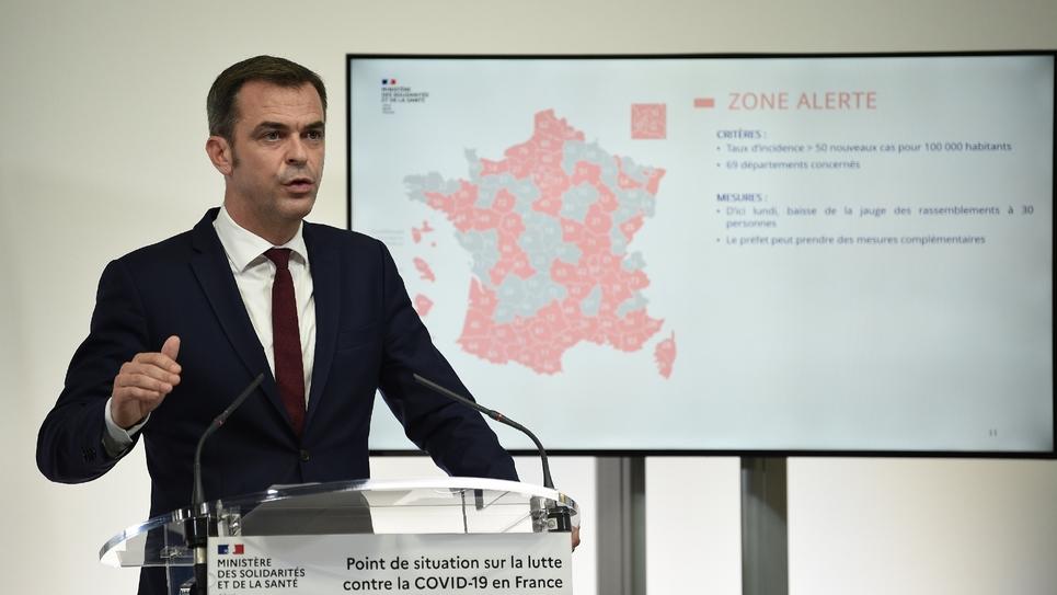 Le ministre de la Santé Olivier Véran lors de sa conférence de presse le 23 septembre 2020