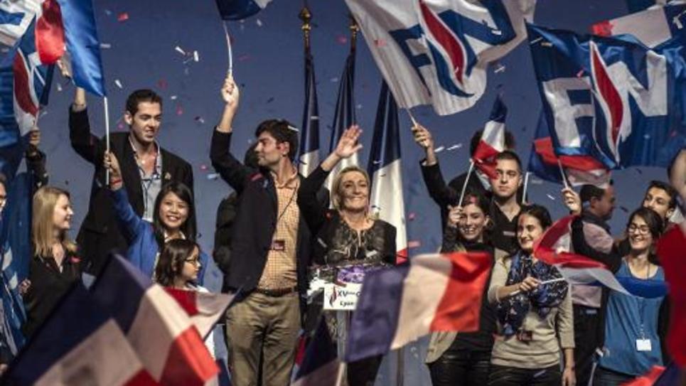 Marine Le Pen lors du congrès du FN à Lyon, le 30 novembre 2014