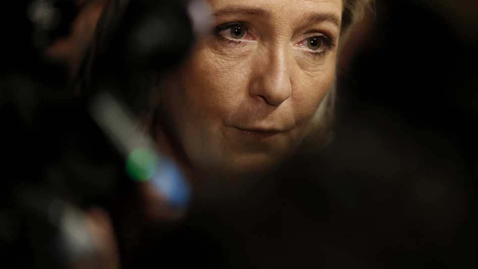 Marine Le Pen, candidate Front national à la présidentielle, le 6 janvier 2017 à Igoville dans l'Eure