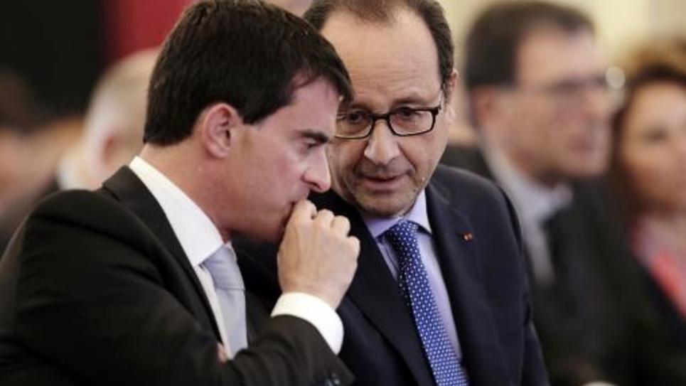 Manuel Valls et François Hollande le 30 octobre 2014 à l'Elysée à Paris