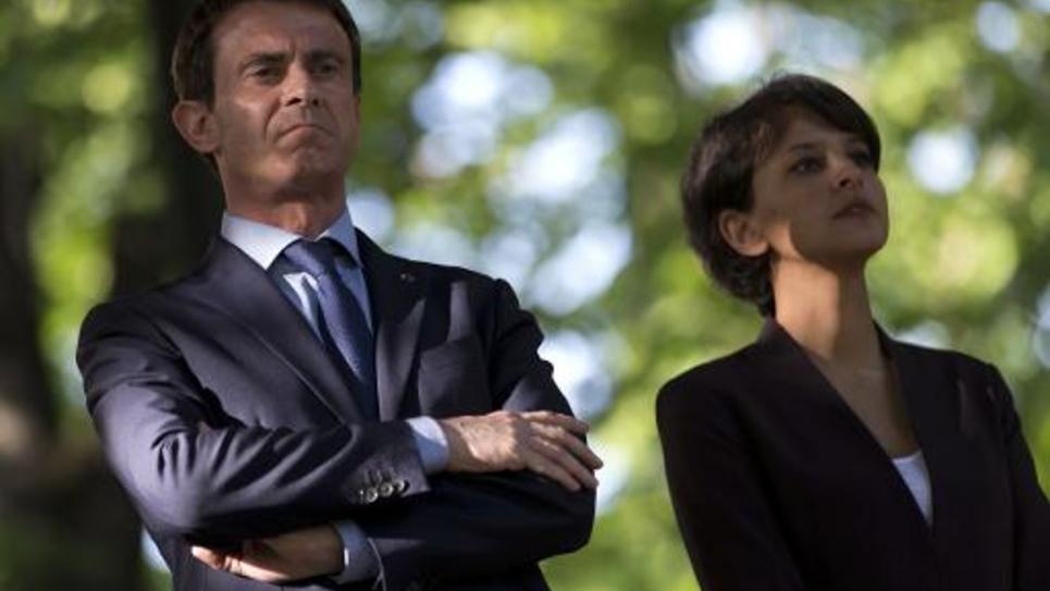 Le Premier ministre Manuel Valls et la ministre de l'Education nationale Najat Vallaud-Belkacem à Paris, le 10 mai 2015
