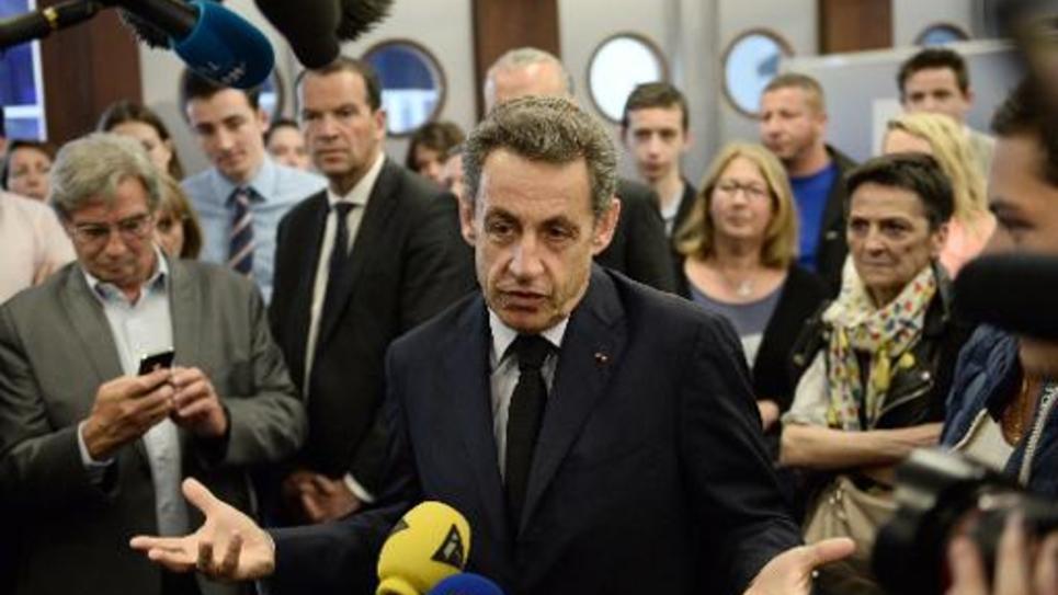 Le président de l'UMP Nicolas Sarkozy à Paris le 28 mai 2015