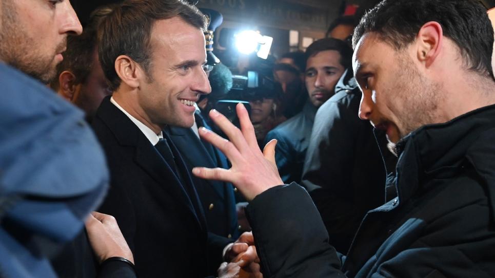 Emmanuel Macron en visite à Rouen, le 30 octobre 2019, un mois après l'incendie de l'usine chimique Lubrizol