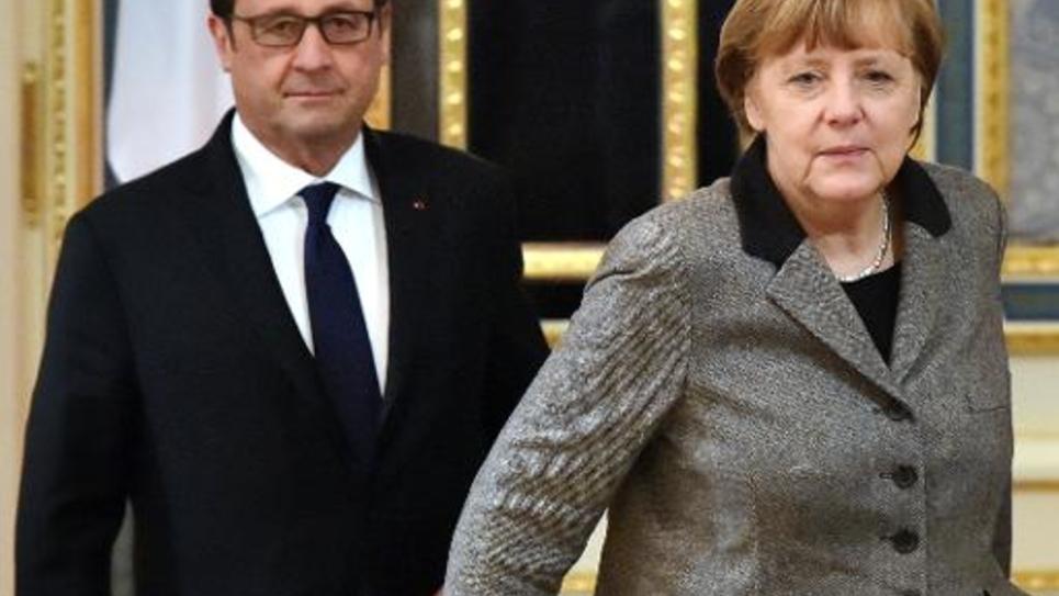 Le président français François Hollande et la chancelière allemande Angela Merkel, le 5 février 2015 à Kiev