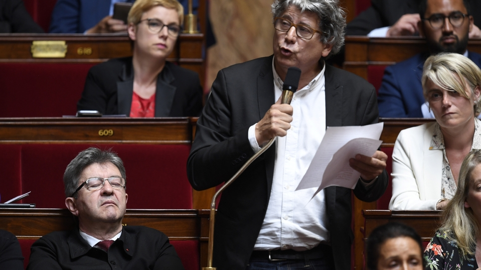 Le député La France insoumise (LFI) Eric Coquerel s'exprime  devant l'Assemblée nationale, le 15 mai 2018