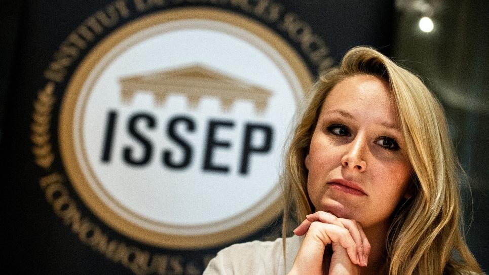 Marion Maréchal lors de la conférence de presse de présentation de l'ISSEP, à Lyon, le 22 juin 2018