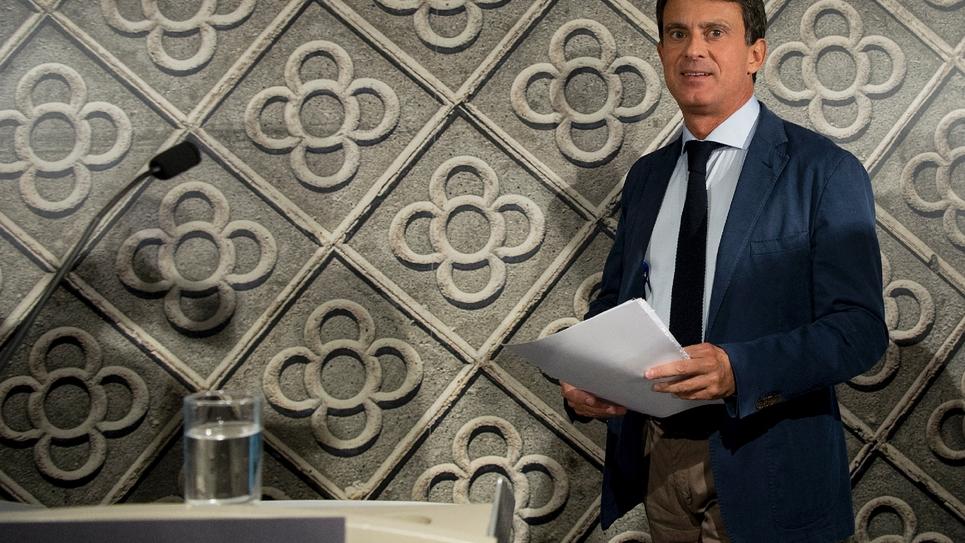 L'ancien premier ministre français Manuel Valls lors d'une conférence de presse mercredi 26 septembre à Barcelone