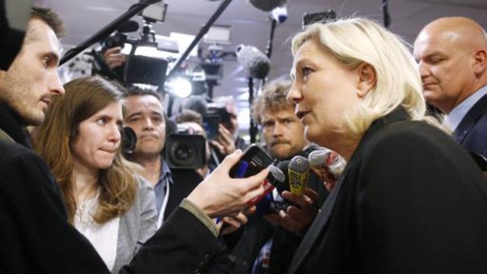 La présidente du FN Marine Le Pen, le 22 mars 2015 à Nanterre