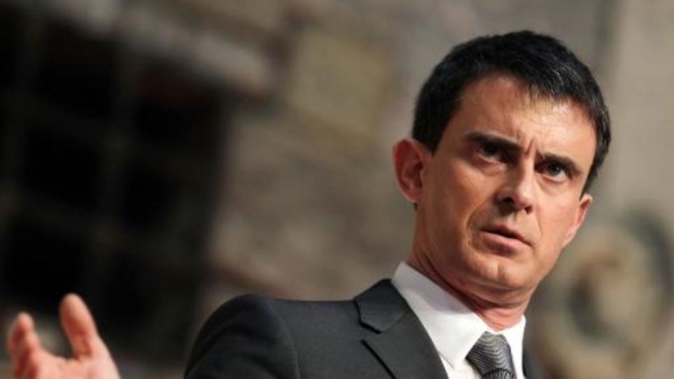 Le Premier ministre Manuel Valls s'exprime le 13 février 2015 à Honfleur à l'occasion de la signature d'un contrat de plan Etat-région