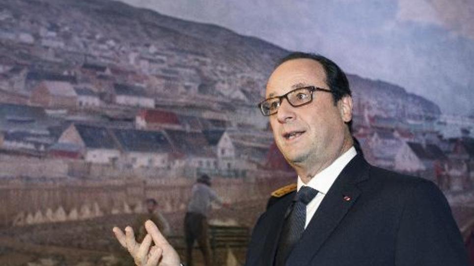 Le président François Hollande à Saint-Pierre et Miquelon le 24 décembre 2014