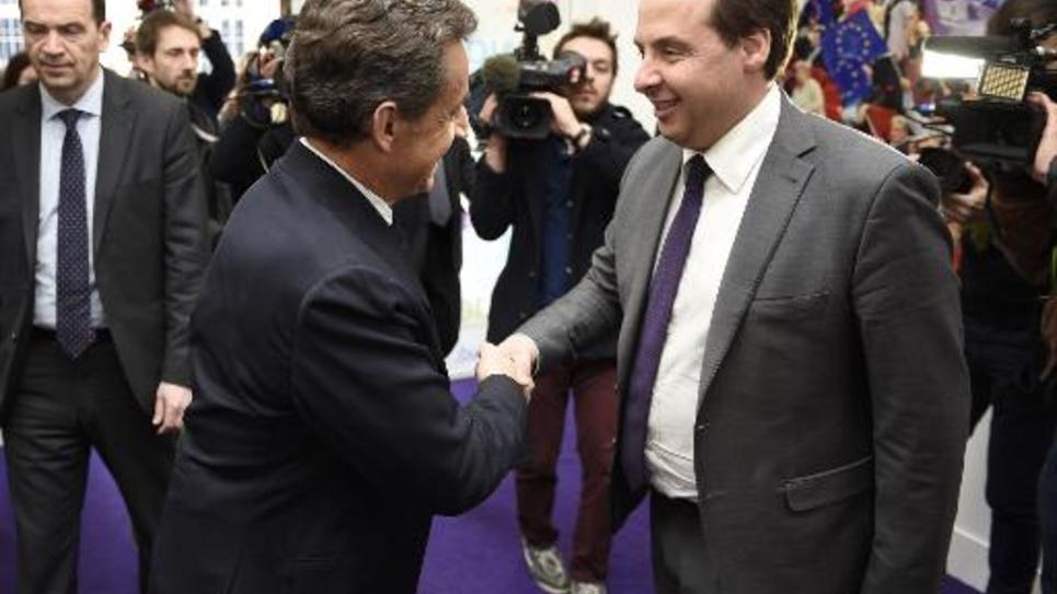 Nicolas Sarkozy et Jean-Christophe Lagarde le 23 mars 2015 au siège de l'UDI à Paris