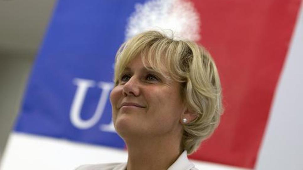 Nadine Morano au siège de l'UMP le 16 septembre 2014 à Paris