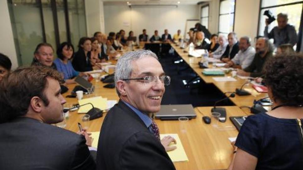 Le chef de file de la délégation du Medef, Alexandre Saubot, avant une réunion sur le dialogue social avec les syndicats, le 9 octobre 2014