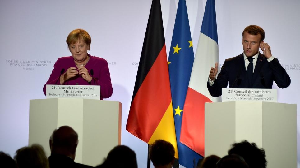 Emmanuel Macron et Angela Merkel à Toulousele 16 octobre 2019