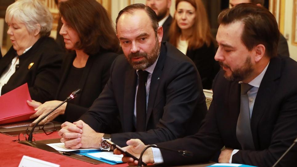 Le Premier ministre Édouard Philippe lors d'une réunion interministérielle sur le Brexit le 17 janvier 2019 à Matignon.
