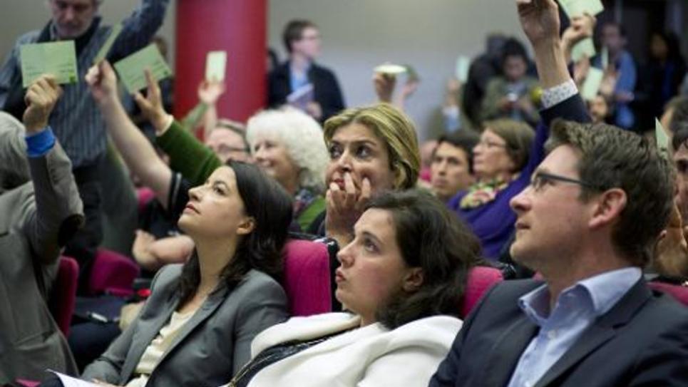 L'écologiste Cécile Duflot (g), Emmanuelle Cosse, et Pascal Canfin, le 5 avril 2014 à Paris