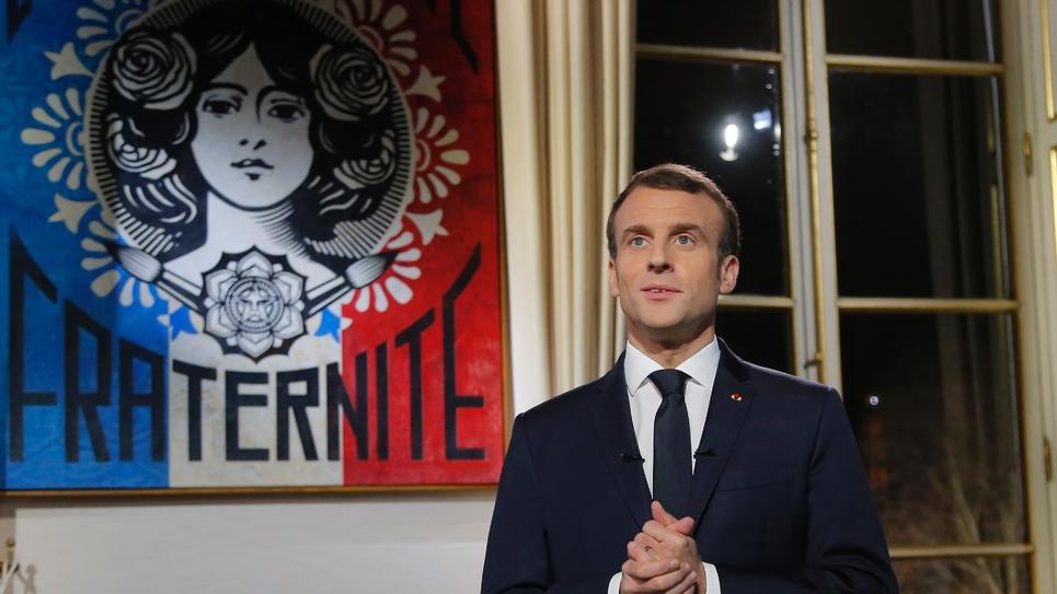 Le président français Emmanuel Macron lors de ses voeux à la nation le 31 décembre 2018 à Paris