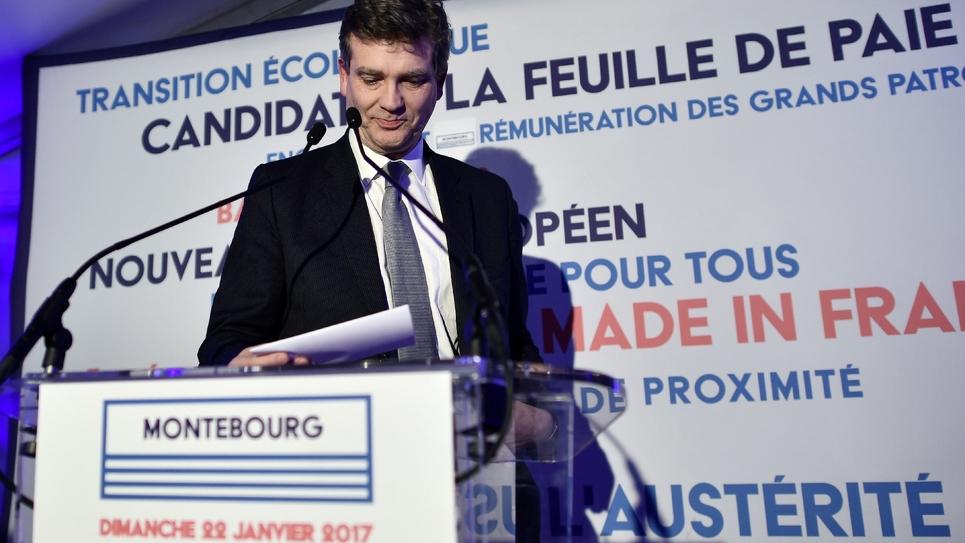 Arnaud Montebourg, arrivé troisième au premier tour de la primaire socialiste élargie, le 22 janvier 2017 à Paris