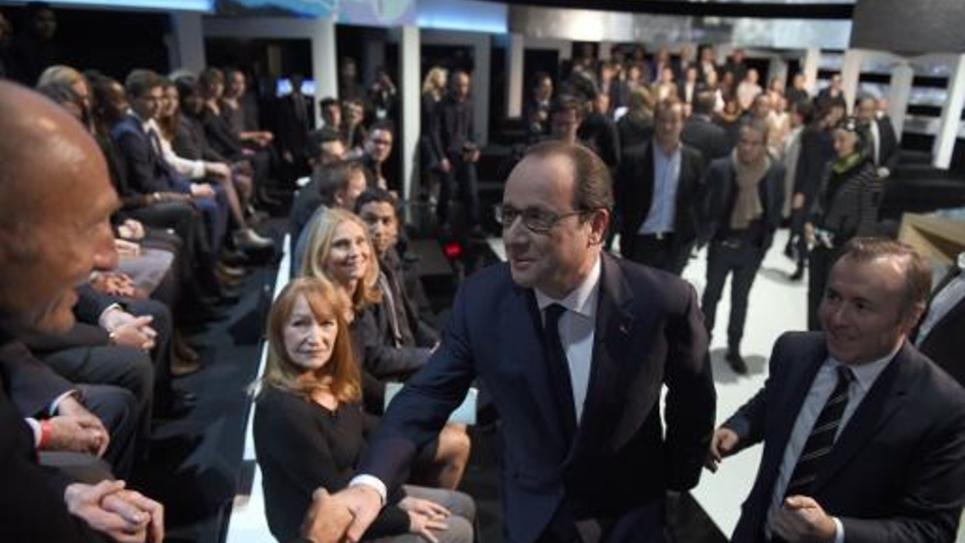 François Hollande sur le plateau de TF1 à Aubervilliers le 6 novembre 2014