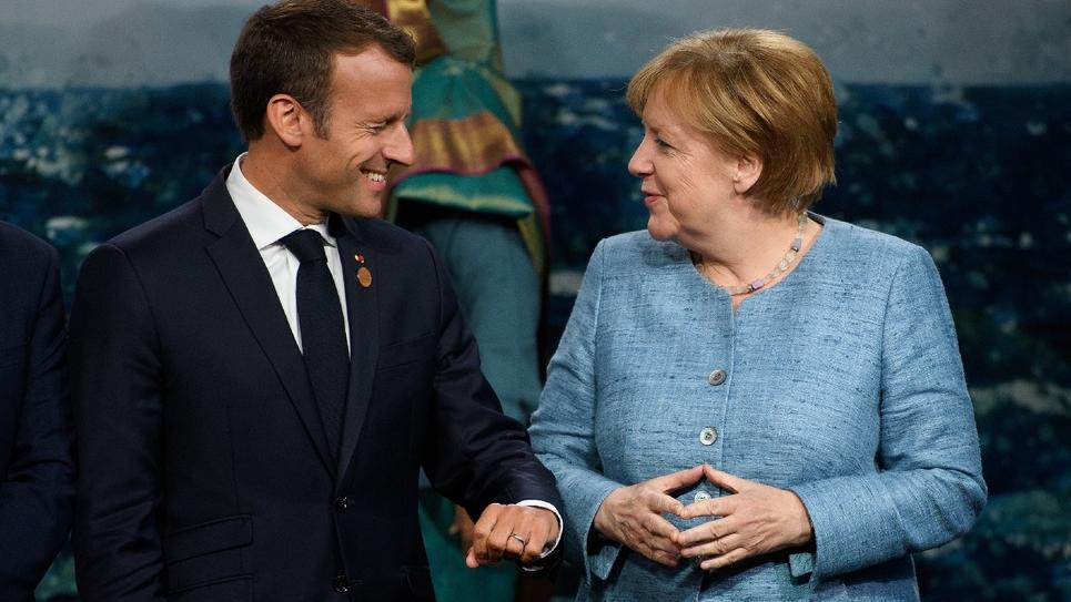Le président français Emmanuel Macron et la chancelière allemande Angela Merkel au G7 à La Malbaie au Canada, le 9 juin 2018