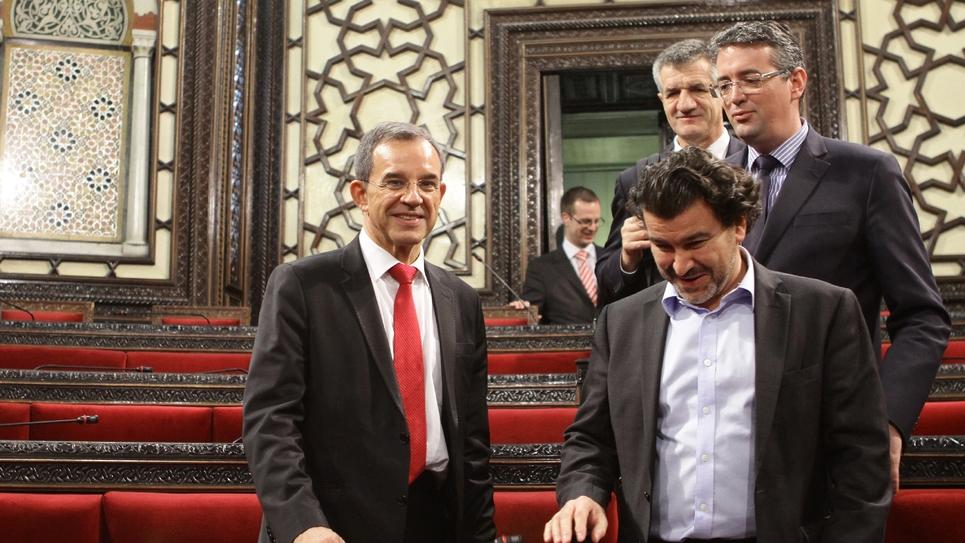 Thierry Mariani (G), Nicolas Dhuicq (D) et Jean Lassalle (C), lors d'une précédente visite en Syrie, le 12 novembre 2015.