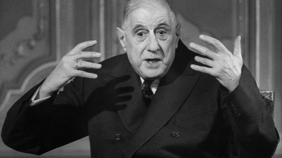 Le général de Gaulle à la télévision le 11 avril 1969.