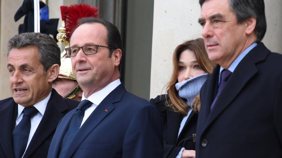 Nicolas Sarkozy, François Hollande, Carla Bruni-Sarkozy et François Fillon à l'Elysée pour la marche républicaine du 11 janvier 2015 qui a suivi les attentats de Charlie Hebdo