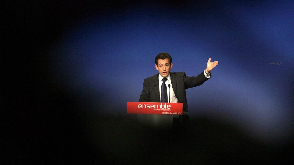 Nicolas Sarkozy en campagne en avril 2007