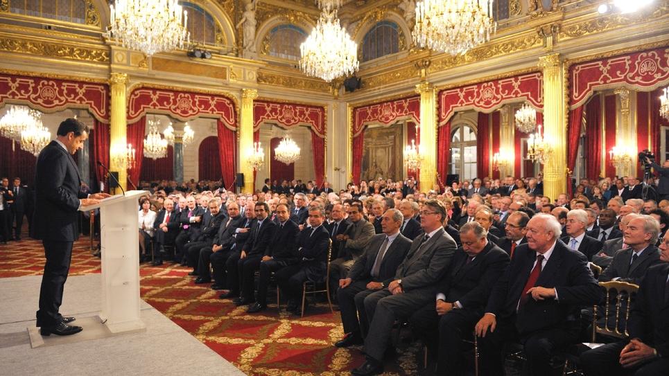 Des maires reçus à l'Elysée par Nicolas Sarkozy, le 23 novembre 2011, à l'occasion du 94e congrès de l'Association des maires de France, Paris