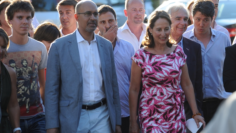Le président des MJS Thierry Marchal-Beck (G), Harlem Désir, Ségolène Royal et le maire de La Rochelle Maxime Bono, à La Rochelle le 22 août  2013