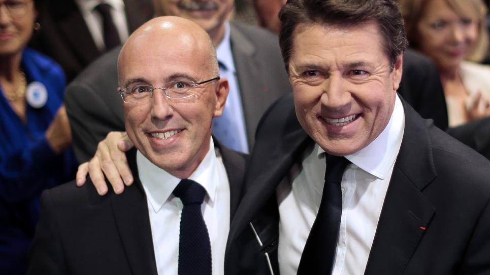Christian Estrosi (d) et Eric Ciotti du temps où les deux hommes étaient encore complices, à Nice le 17 novembre 2013