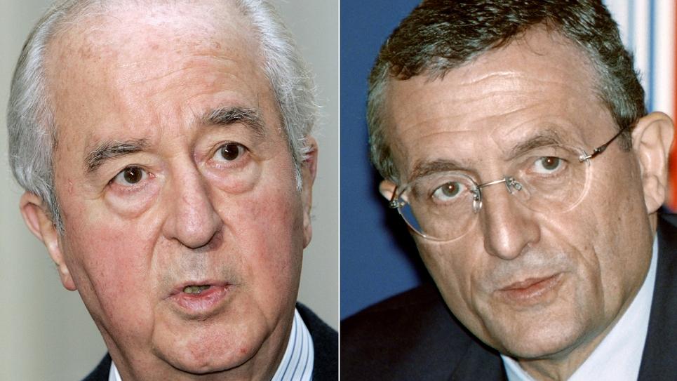 Combinaison réalisée le 13 janvier 2014 à Paris des portraits de l'ancien Premier ministre Edouard Balladur et de François Léotard