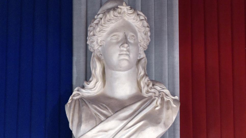 Le buste de Marianne, symbole allégorique de la République française, dans la mairie de Toulouse le 4 avril 2014.