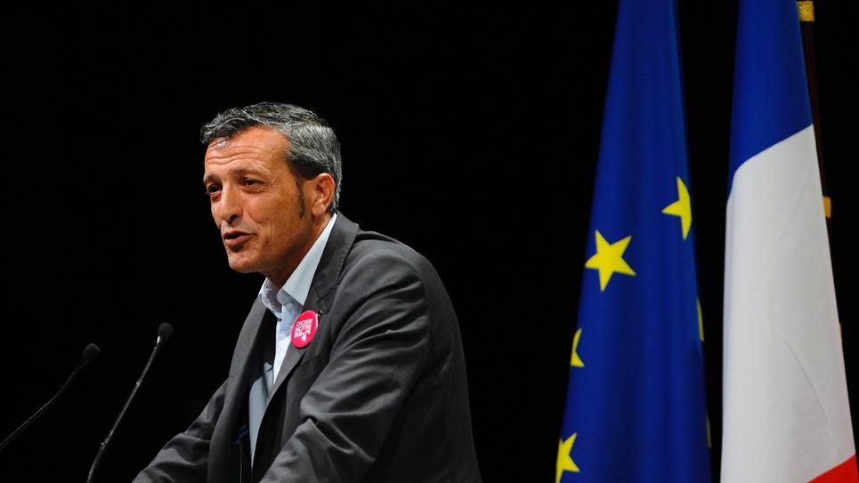 Edouard Martin à Metz (Moselle) lors d'un meeting de campagne le 13 mai 2014