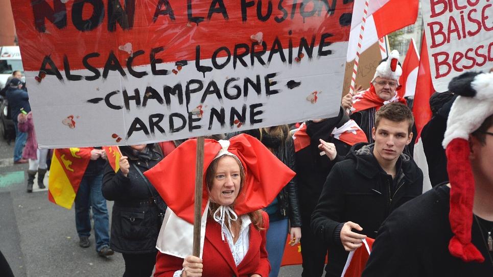 Des manifestants s'étaient opposés à la création de la région Grand-Est, à Strasbourg le 23 novembre 2014